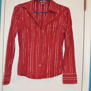 Red with Silver Pin stripe blouse